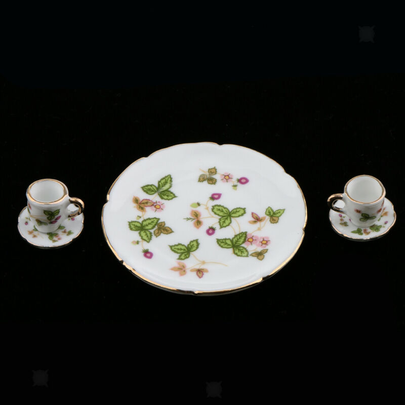 Clover Floral Ceramic China Teaware Tea Set for 1//6 Dollhouse Miniature