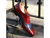 Mens patina brogue shoe - FREE Shipping / Red and Blue