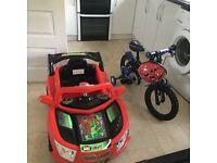 Boys bike and racing car