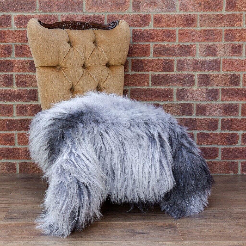 Natural Grey Sheepskin Rug Large 115cm Long 85cm Wide