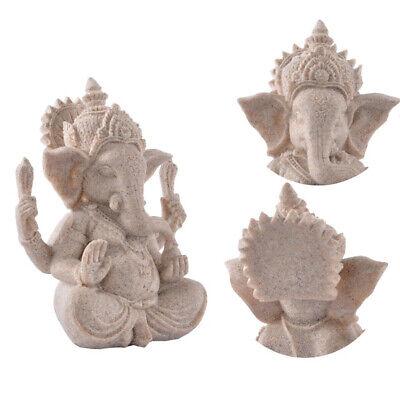 Hand Carved Sand Stone Hindu Tribal God Ganesh Elephant Statue Lucky Decor Carved Ganesh Statue