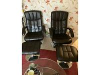 2 x brown recliner chairs with stools