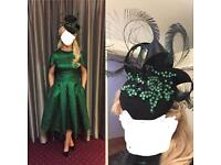 Green Occassion/races/wedding guest dress with bespoke matching fascinator