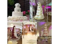 Wedding cakes ,floral wall,brides bridesmaid bouquet , candelabra ,love letters ,chocolate fountain