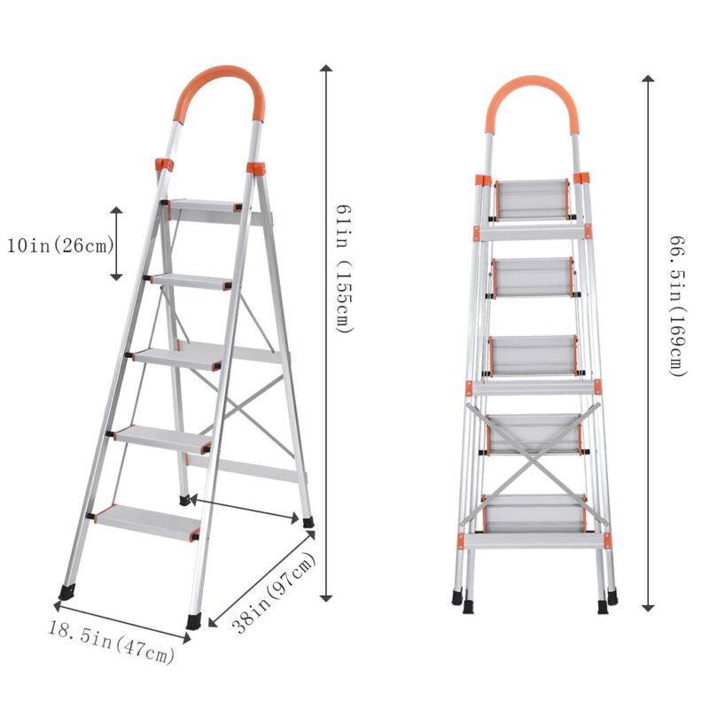 Heavy Duty 5 Step Ladder Aluminium Folding Portable Stepladder Anti-Slip Safe Comfort Steps 150kg Capacity Used