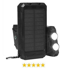 Solar Power Charger & Power Bank - 2 LED Lights, Compass, Waterproof