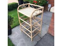 Vintage Rattan Wicker Bamboo Storage Unit Cane Shelf