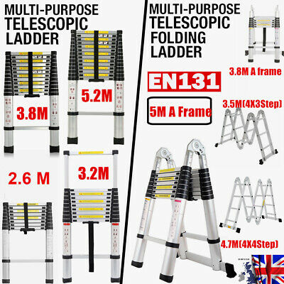 2.6M-5.2M Telescopic Loft Ladder Extendable Collapsible Step Securing Ladders
