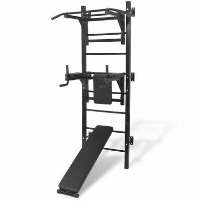 vidaXL Máquina de Musculación Multiusos para la Pared Negra Equipo de Gimnasio