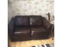 John Lewis Brown leather sofa - 2 seater - immaculate