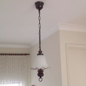 Country style pendant light with bell-shaped frosted glass shade, in excellent condition