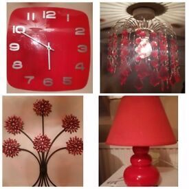 Red Clock, Lamp, Light Shade & Wall Art. All 4 for £10