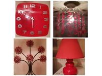 Red Clock, Lamp, Light Shade & Wall Art. All 4 for £15