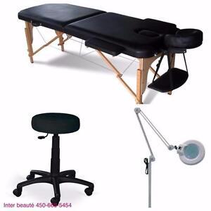 Ensemble 3 pièces: Table de massage , lampe loupe et tabouret**239$**