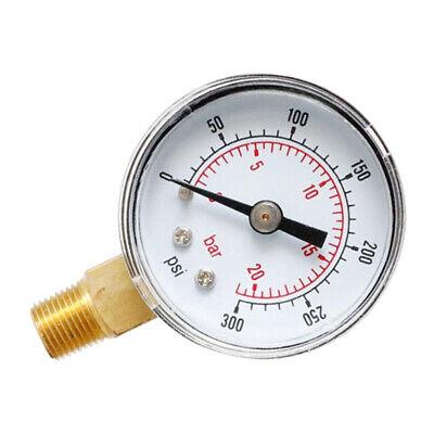 Utility Pressure Gauge Water Oil Gas 0-300 Psi 0-20 Bar Manometer Tool