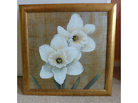 Square Gold Framed Picture Painting White Jonquil Flowers 46cm x 46cm