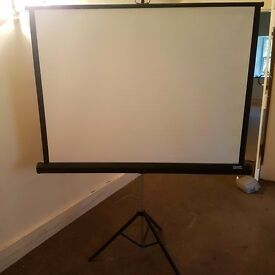 Projector screen. As new. Never been used. Tripod/easy carry model with variable screen size