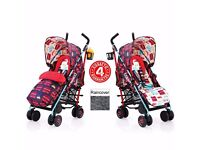 2 colours NEW COSATTO SUPA PUSHCHAIR STROLLER HUSTLE BUSTLE BUGGY & RAINCOVER FROM BIRTH
