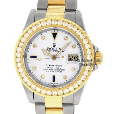 Rolex Mens Submariner Watch 16613 SS & 18K Yellow Gold White Diamond Dial 3.0 CT