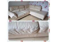 Biege leather corner sofa