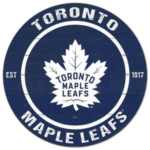 Toronto Maple Leafs 20 Inch Round Logo Design Wooden Wall Sign (New)