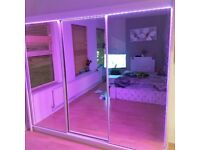 💥💯CRAZY DEALS ON 2/3 DOORS SLIDING WARDROBE WITH FULL MIRRORS ALL SHELVES & RAILS INCLUDED