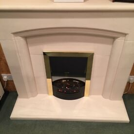 BRAND NEW SOLID LIMESTONE FIREPLACE SUITE