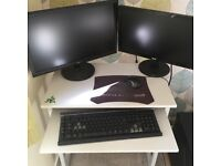 gaming computer, 2x monitors, corsair k30 gaming keyboard, mouse and speaker system
