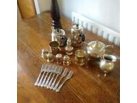 Tea service with pudding forks
