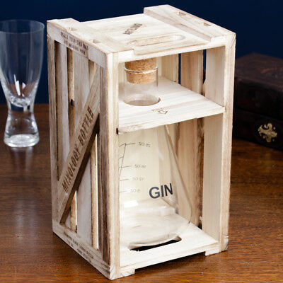 Deluxe Large 750ml Gin Decanter - Scientific Style Beaker in Wooden Crate