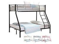 Black Metal bunk beds double on bottom single on top BNIB