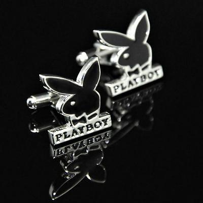 Playboy Bunny Cufflinks (PLAYBOY CUFFLINKS Bunny Logo Black Silver Tone NEW w GIFT BAG Retro Father's)