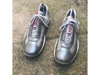 Prada patent silver trainers size 4.5