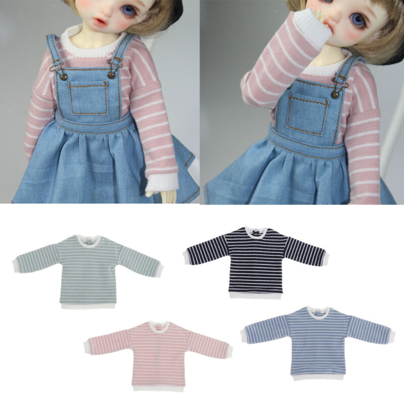 Mini Doll Clothes Long Sleeve Stripe Sweater for 1/6 Blythe BJD Doll Outfits