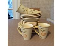 Lemon dinner set, which include 4 mugs, 4soup or desert bowls, 4 side plates and 4 dinner plates