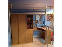 Childrens bunkbed with wardrobe, desk and shelf unit