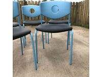 5 Ikea blue dining chairs