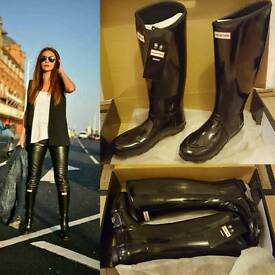 Brand new boxed gloss black hunter wellies wellington boots size 8