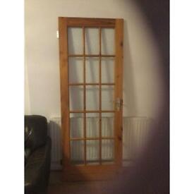 Glazed, oak stained pine door