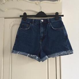 Topshop denim high waist shorts size 8