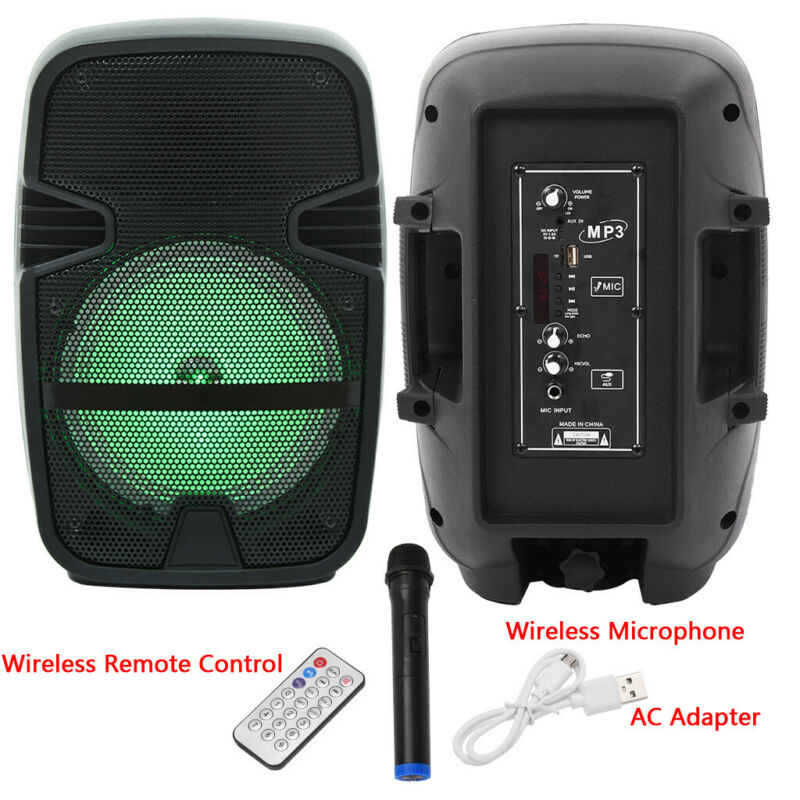 8 Inch Portable Bluetooth DJ, PA Speaker AC/DC, Microphone,