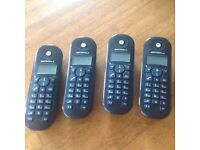 4 x Motorola C604 cordless home phones, 4 hand sets and bases.
