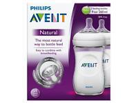 New: Philips AVENT Natural Feeding Bottle 1+ Months 2 x 260ml
