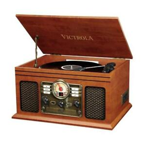 NEW Innovative Technology Nostalgic Classic Wood 6-in-1 Bluetooth Turntable Entertainment