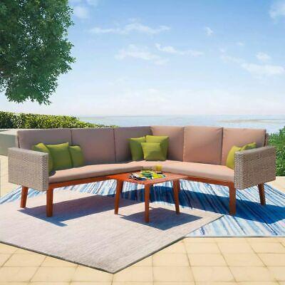 vidaXL 4 Piece Garden Sofa Set Poly Rattan Gray Outdoor Patio Lounger Seat ()