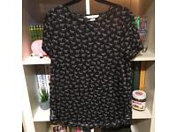 H&M Black Zebra Print T Shirt