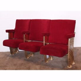 A Row of 3 Vintage C1930s Art Deco Cinema Theatre Seats with Aisle End Panels REF110 UK Delivery