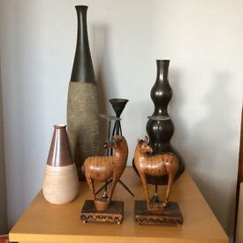 Selection of African art Vases and candle holders.
