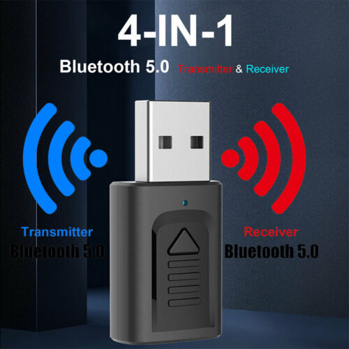 Wireless USB Bluetooth 5.0 Audio Transmitter Receiver 4in1 Adapter For TV PC Car