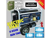 JEFFERSON 3.0KW 7HP PETROL GENERATOR ELECTRIC KEY START AVR JEFGENPET30EL Electris start generator